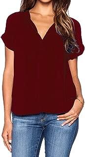 roswear Women's Chiffon Blouse V Neck Short Sleeve Top Shirts