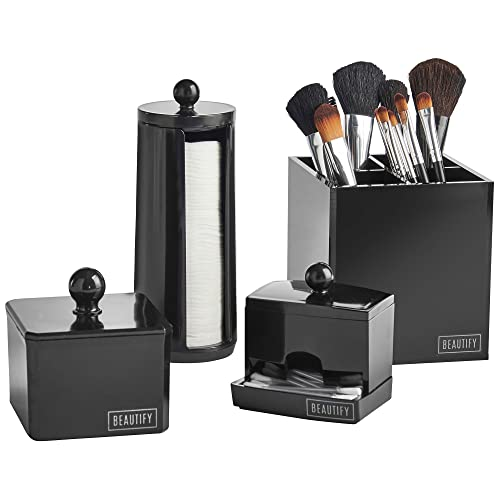 Beautify Lot de 4 Boites Noires de Rangement de Salle de Bain pour Maquillage et Accessoires