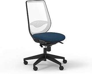 Silla de oficina con respaldo blanco y asiento azul (azul)