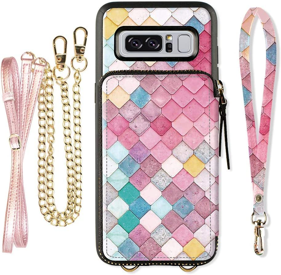 Samsung Galaxy Note 8 Wallet Case, ZVE Galaxy Note 8 Case with Credit Card Holder Crossbody Chain Leather Zipper Purse Protective Shockproof Case Cover for Samsung Galaxy Note8 6.3 - Mermaid Wall