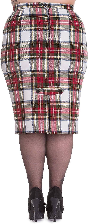Hell Bunny Plus London Rock Rockabilly Office Lady Tartan Pencil Wiggle Skirt