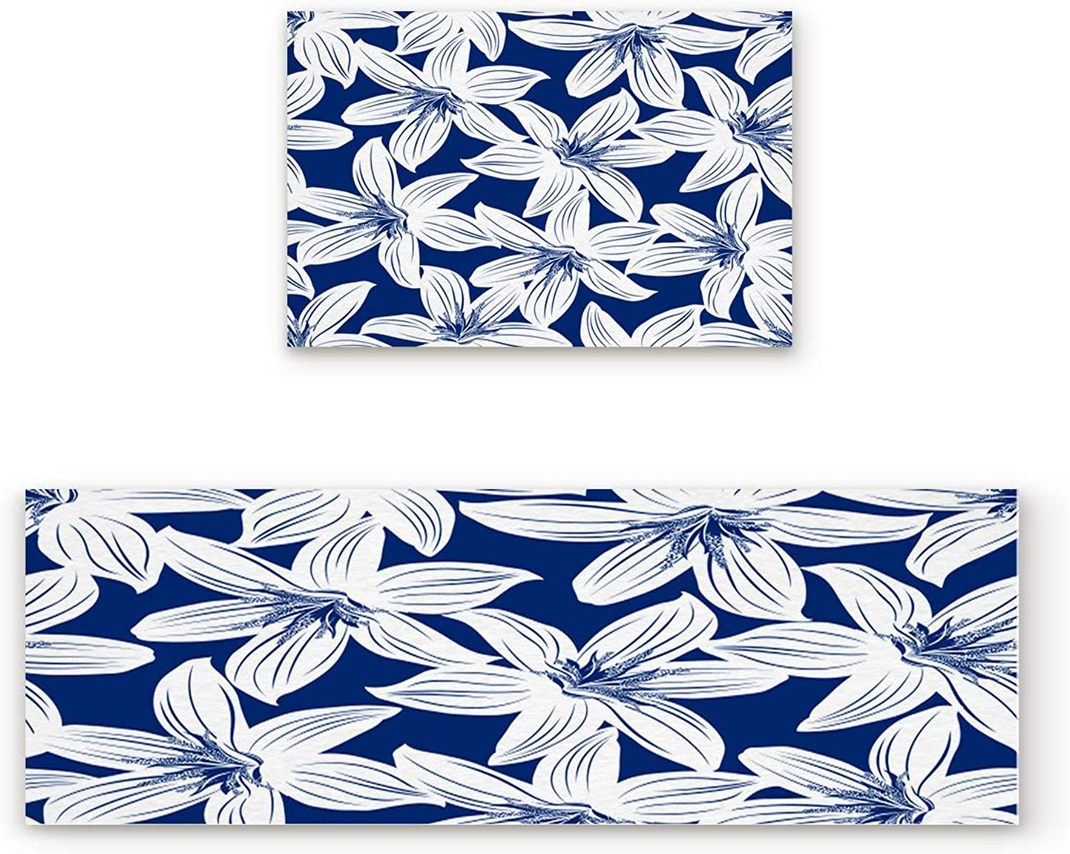 Aomike 2 Piece Non-Slip Kitchen Mat Rubber Backing Doormat bluee and White Flower Runner Rug Set, Hallway Living Room Balcony Bathroom Carpet Sets (19.7  x 31.5 +19.7  x 47.2 )