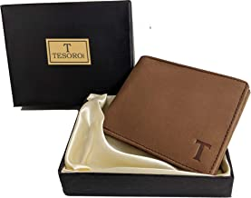 MUFUBU Presents Tesoro Italy Pure Leather Men's Wallet RFID Safe Tuscany Brown Ultra Slim Cash and Card (Gift for Men)