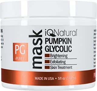 iQ Natural 5oz Pumpkin Glycolic Mask, Cleans & Exfoliates Skin, Spa Quality Facial Peel with AHA Enzyme.