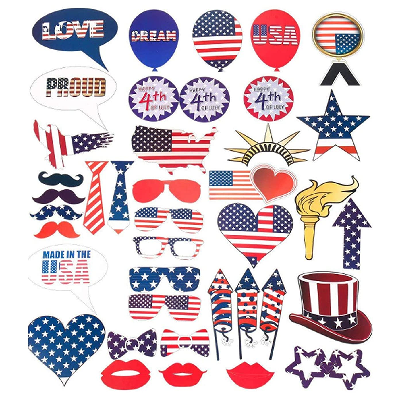 Binory 40pcs July 4th American Independence Day Photo Props for Home Party Decorations,Kids Adults Patriotic Party Supplies Gift