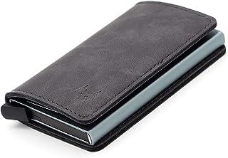 Cartera de Piel/Cuero para Hombre - Tarjetero metálico - Billetera de Cuero con protección RFID - Pequeña - Elegante y Min...