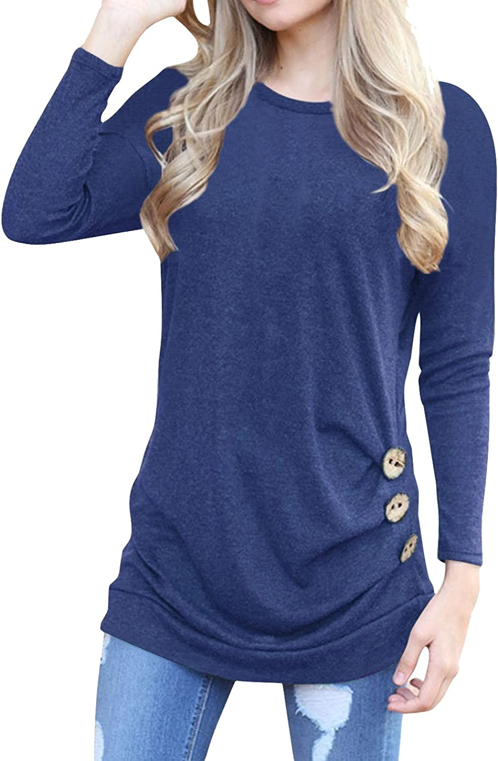 Anicco Womens Long Sleeve Casual Round Neck Loose Tunic Top Blouse TShirt