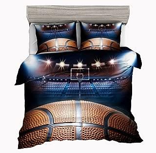 SxinHome Madness in March 3D Basketball Bedding Set for Teen Boys, Duvet Cover Set,3pcs 1 Duvet Cover 2 Pillowcase(No Duvet&Comforter inside), Full Size