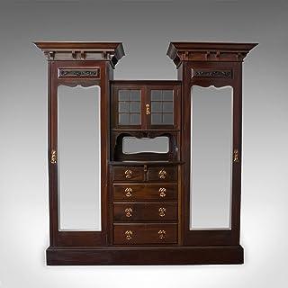 Armoire antique Maple and Co en acajou anglais, victorien, art nouveau C.1880