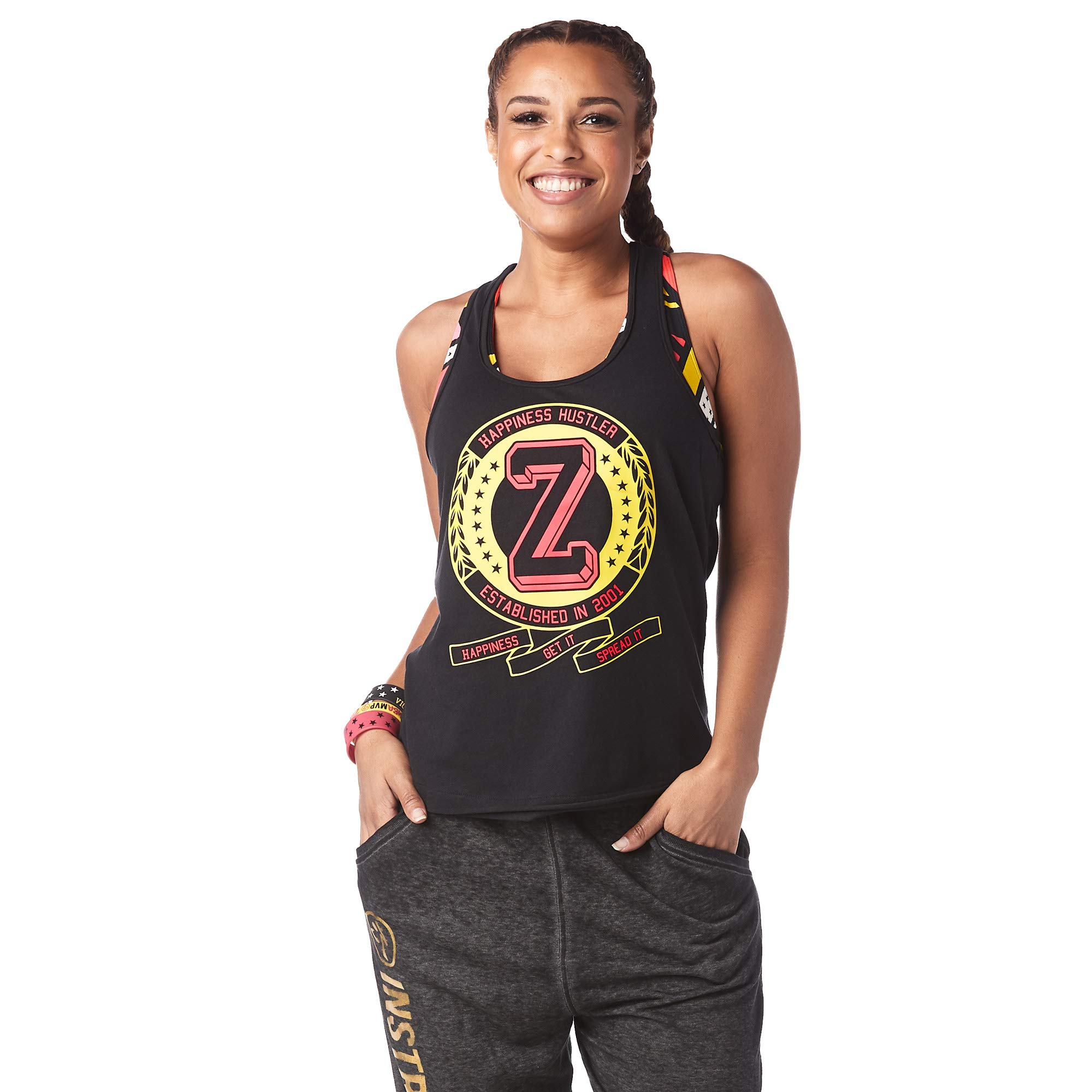 Zumba Athletic Graphic Design Dance Workout Racerback Black Tank Top for Women Slim Fit
