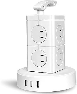 BEVA タワー型電源タップ 2層小型 縦コンセント 8個AC口(110-125V)+3個USBポート(最大4.8A/5V)雷ガード 過負荷保護 省エネ 延長コード2m オフィス/家庭給電用 シンプル 和洋OKのホワイト
