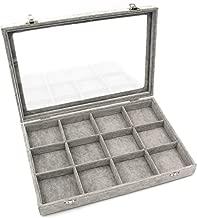 KLOUD City Jewelry Box Organizer Display Storage case(Gray-12 Grid)
