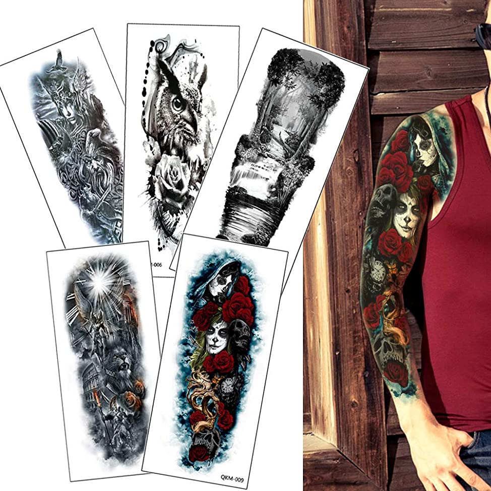 5 Sheets Full Arm Temporary Tattoo Sleeve Body Waterproof Tattoo Sticker for Men Women