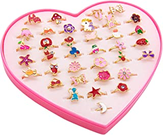 مجموعة من 36 خاتم مجوهرات للفتيات من أوير، خواتم قابلة للتعديل في الصندوق لا توجد حلقات مجوهرات مقلدة مع حقيبة عرض على شكل...