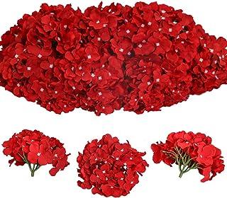 Tifuly 12 Pcs Hortensias Artificiales, Hortensias de Seda Cabezas de Flores con Tallos Flores Falsas para Ramos de Novia, Decoración de Fiesta en el hogar, Arreglos, Centros de Mesa