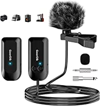 Professional 2.4G Wireless Microphone Set, Wireless Lavalier Microphone with Lavalier Lapel Mics, Compatible with Bus Ampl...