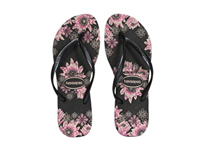 Havaianas Slim Organic Flip Flops (Black/Dark Grey/Rose Gold) Women