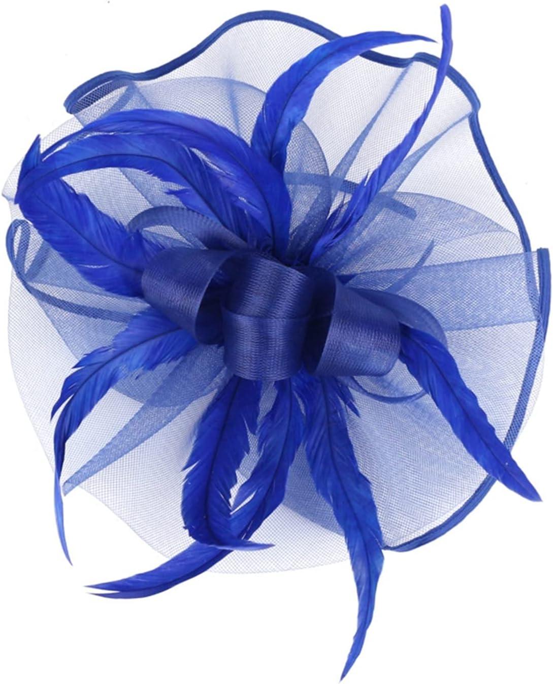 HYMD Tea Party Hats 1PC Women Flower Mesh Feathers Hat Cocktail Tea Party Headbands (Color : 4, Size : One Size)