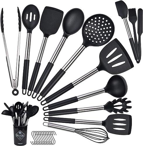 14 Pièces Set D'ustensiles de Cuisine en Silicone, Ustensiles de Cuisine en Silicone, Silicone Anti-Rayures Anti-adhé...