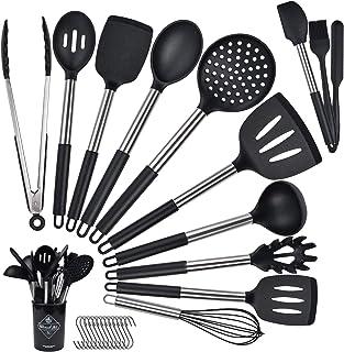 14 Pièces Set D'ustensiles de Cuisine en Silicone, Ustensiles de Cuisine en Silicone, Silicone Anti-Rayures Anti-adhésif R...