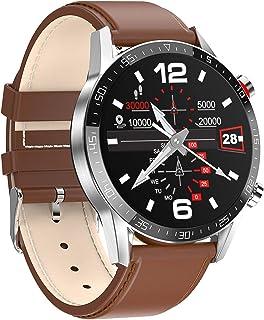 RNNTK Reloj Inteligente Bluetooth Monitor De Sueño Monitor De Presión Arterial Pulsómetro Smart Watch, Salud Y Acondicionamiento Físico Reloj Deportivo,para Dama,Hombres,Niños-Piel Marrón