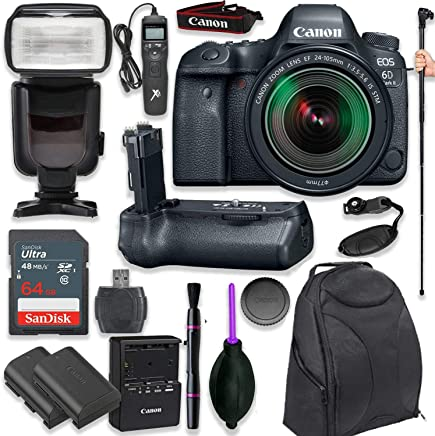 $1749 Get Canon EOS 6D Mark II DSLR with EF 24-105mm f/3.5-5.6 is STM Lens with Pro Camera Battery Grip, Professional TTL Flash, Deluxe Backpack, Spare LP-E6 Battery (17 Items)