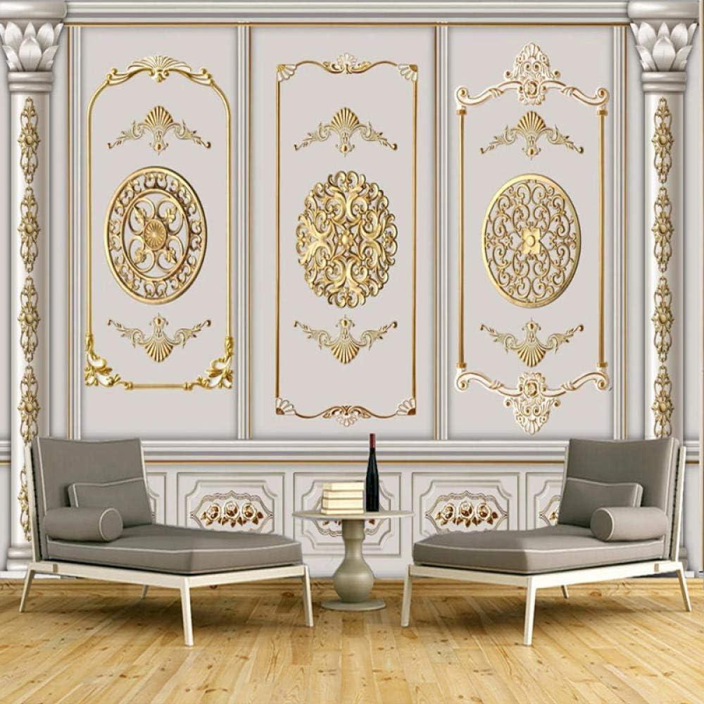 Custom Gold Gypsum Pattern Mural Wallp Mesa Mall Decor 2021new shipping free shipping European Style Wall