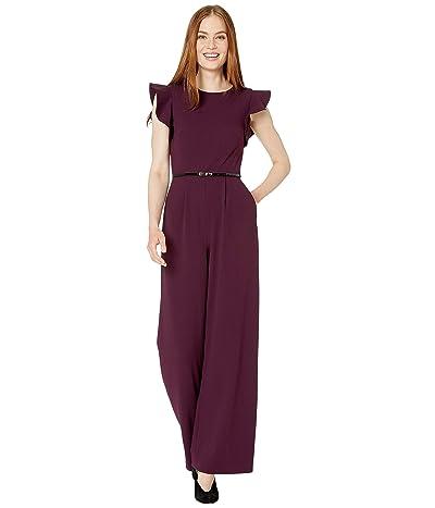 Calvin Klein Belted Ruffle Sleeve Jumpsuit (Aubergine) Women