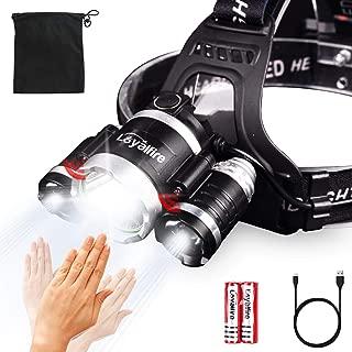 Motion Sensor Headlamp, Loyalfire 9000 Lumen XM-L2 LED Headlamp Bright Light 4 Modes Waterproof Headlight Flashlight with Induction Power Bank 18650 Battery USB Rechargeable for Camping Running Hiking