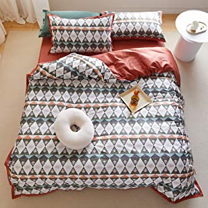 MKXI Geometric Pattern Queen Bedding Diamond Duvet Cover Set Burnt Orange Solid Color Reversible Luxury Home Textile Silky Feeling Bedroom Collection