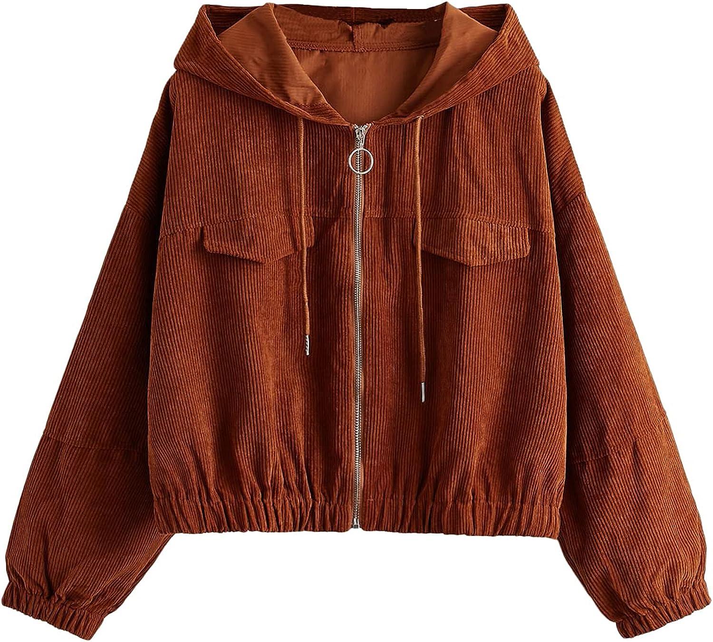 WDIRARA Women's Zip Front Drawstring Hoodie Long Sleeve Casual Sweatshirt Top