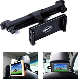 SRMATE Headrest Tablet Mount, Upgraded Screw Lock Car Headrest Holder for iPad Pro Air Mini, Samsung Galaxy Tabs, Google Nexus, Other 4.7-11in Cellphones and Tablets with 360° Rotation (Black)