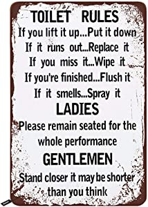 Swono Restroom Tin Signs,Toilet Rules for Ladies and Gentlemen Vintage Metal Tin Sign for Men Women,Wall Decor for Bars,Restaurants,Cafes Pubs,12x8 Inch