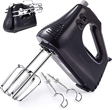 Mixer, MOSAIC Hand Mixer Electric with Cord & Attachments Storage and 4 Stainless Steel Accessories, Easy Eject Handheld