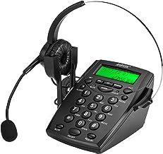 $27 » AGPtek Handsfree Call Center Dialpad Corded Telephone #HA0021 with Monaural Headset Headphones Tone Dial Key Pad & REDIAL-...