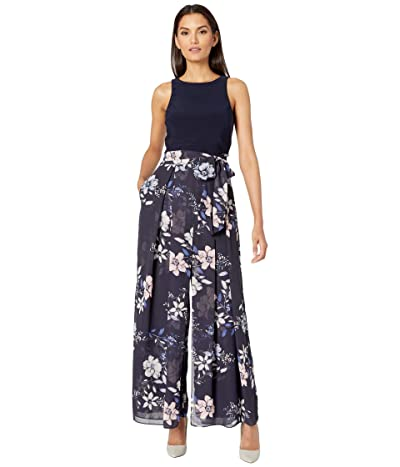 Vince Camuto Printed Chiffon and Jersey Twofer Jumpsuit (Navy Multi) Women