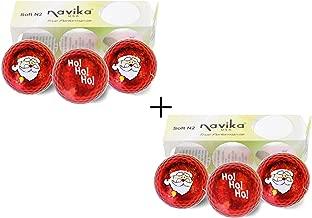 Navika Santa/HoHoHo Xmas Red Metallic Bling Golf Balls (2 Pack)