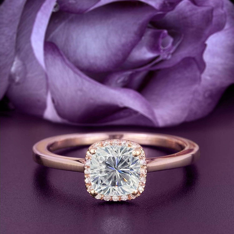 Dazzling Halo Max 41% OFF 1.55 Carat Cushion Moissanite Cash special price Cut Engageme Diamond