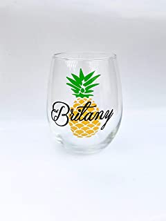 Personalized Pineapple Wine Glass Pineapple Gift Pineapple Item Pineapple Lover Pineapple Obsessed Pineapple Gifts Pineapple Favors