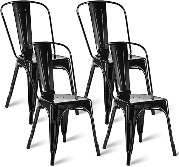 Dining Metal Chair Stackable Restaurant Chairs Indoor Out Door Bar Side Chairs In Black Set Of 4
