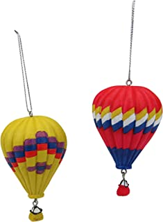 Midwest Set of 2 Red and Yellow Hot Air Balloon Christmas Ornaments 3.25