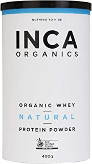 Inca Organics Organic Protein Powder Natural, 100% Certified Organic, GMO and Gluten Free, 400g, Whey Natural (Raw) 400 grams