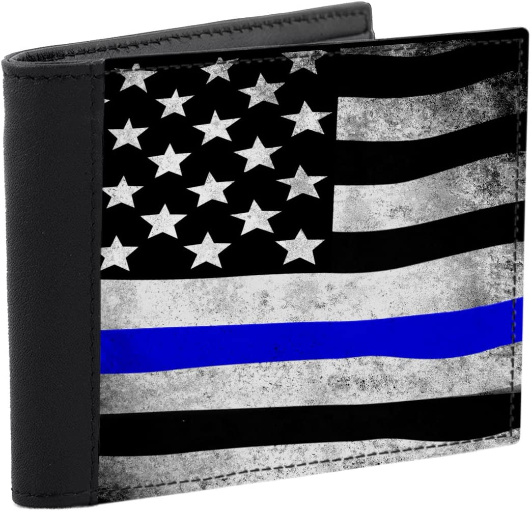 Thin Blue Line American Flag in Support of Police and Law Enforcement Manufactured in USA Mens Wallet