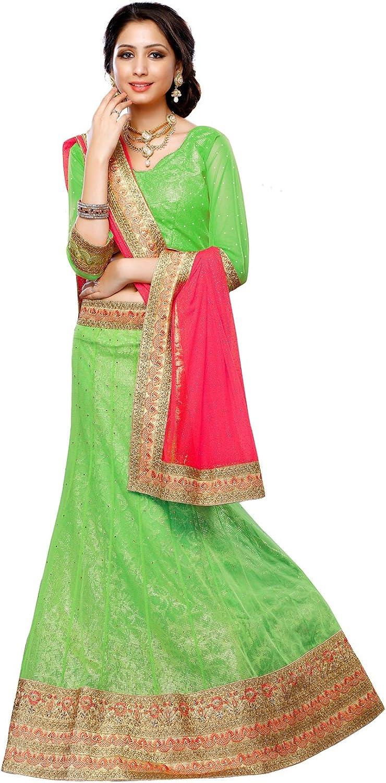 DesiButik's Wedding Wear Ravishing Parred Green Soft Net Lehenga