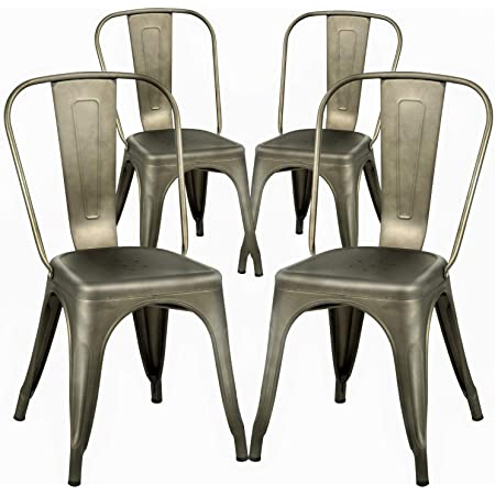 Amazon Com Dining Chairs Set Of 4 Metal Chairs Patio Chair Dining Room Kitchen Chair 18 Inches Seat Height Tolix Restaurant Chairs Trattoria Metal Indoor Outdoor Chairs Bar Stackable Chair Furniture Decor