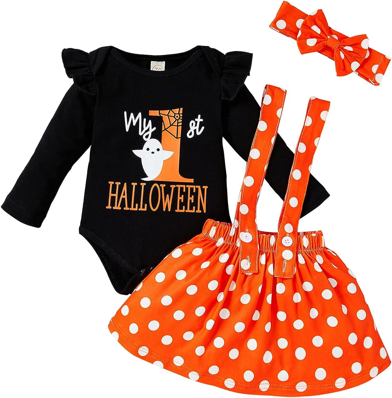 Baby Girl Halloween Skirt Set Newborn girl My 1st Halloween Romper Wave Point Suspender Dress + Bow Tie Heandband 3Pcs Set