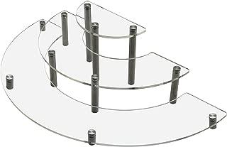 MyGift Clear Acrylic Half Moon Shelf Unit / 3 Tier Tabletop Display Riser