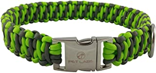 Pet Labs Paracord Dog Collar Flourescent Green and Dark Grey with Buckle
