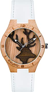 AIKURIO Women Wooden Wrist Watch Analog Quartz with Leather Band and 3D Engraving Pattern AKR012