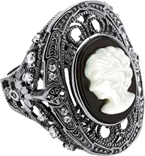 Black Sterling Silver Cameo Oval Shaped Natural Black Onyx and Round Cubic Zirconia Ring